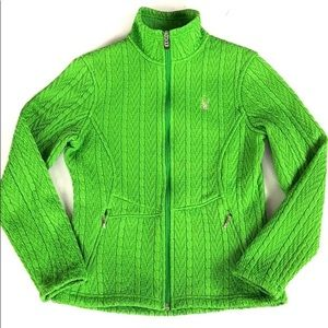 EUC Spyder Neon Green Cable Knit Jacket